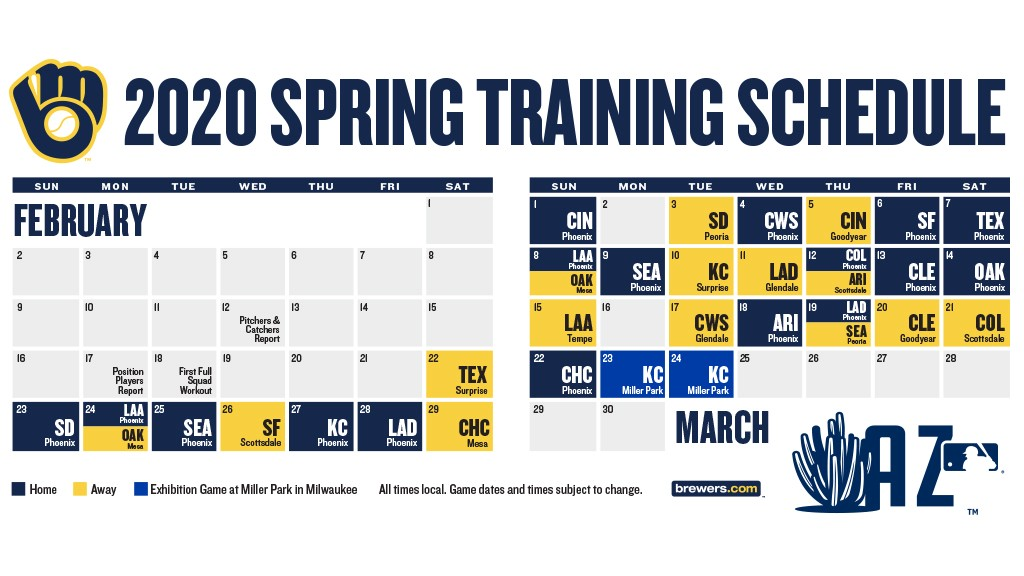 Padres Home Schedule 2020.Brewers Announce 2020 Spring Training Schedule Cait Covers