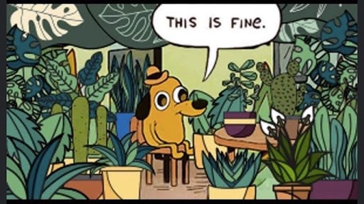 "Cartoon drawing of a dog in a top hat saying ""this is fine"" while surrounded by plants. A remake of one surrounded by flames."