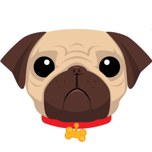 The logo for pug, a slightly sad looking cartoon dog wearing a red collar with a pendant in the shape of a bone.
