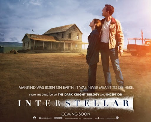 A movie poster for the movie Interstellar, showing the main character standing with his daughter, looking up at the sky on their family farm in the midwest.