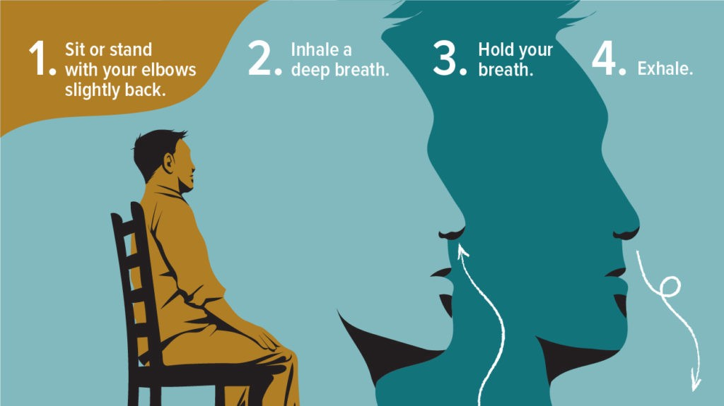 How to do deep breathing for a mood booster.