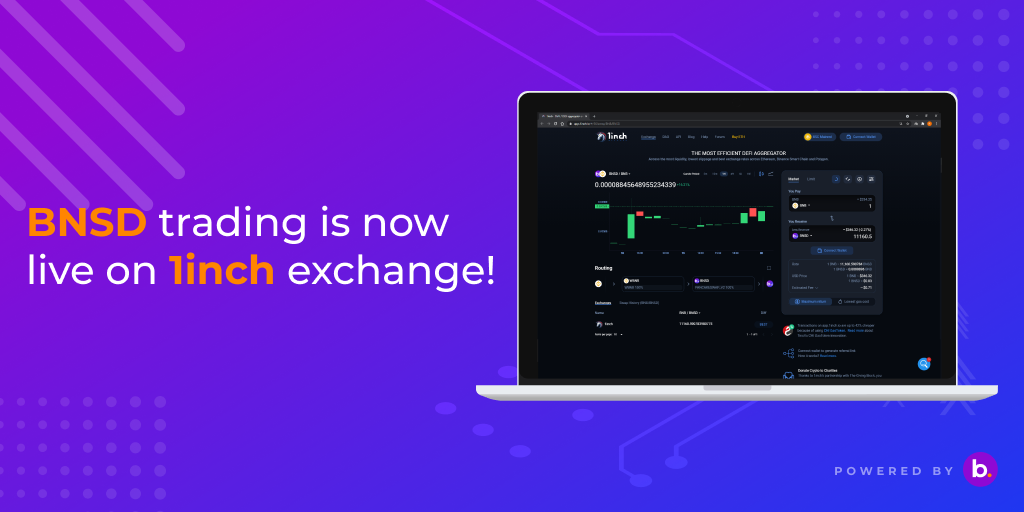 BNSD Trading has now started on 1inch Exchange