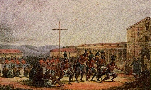 1820 painting of European view of supplicating Indians seeking absolution from local priests