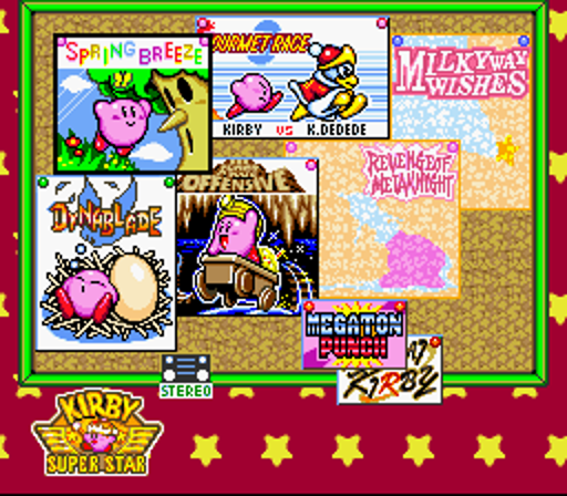 In typical Kirby fashion, the main menu is vibrant as ever.