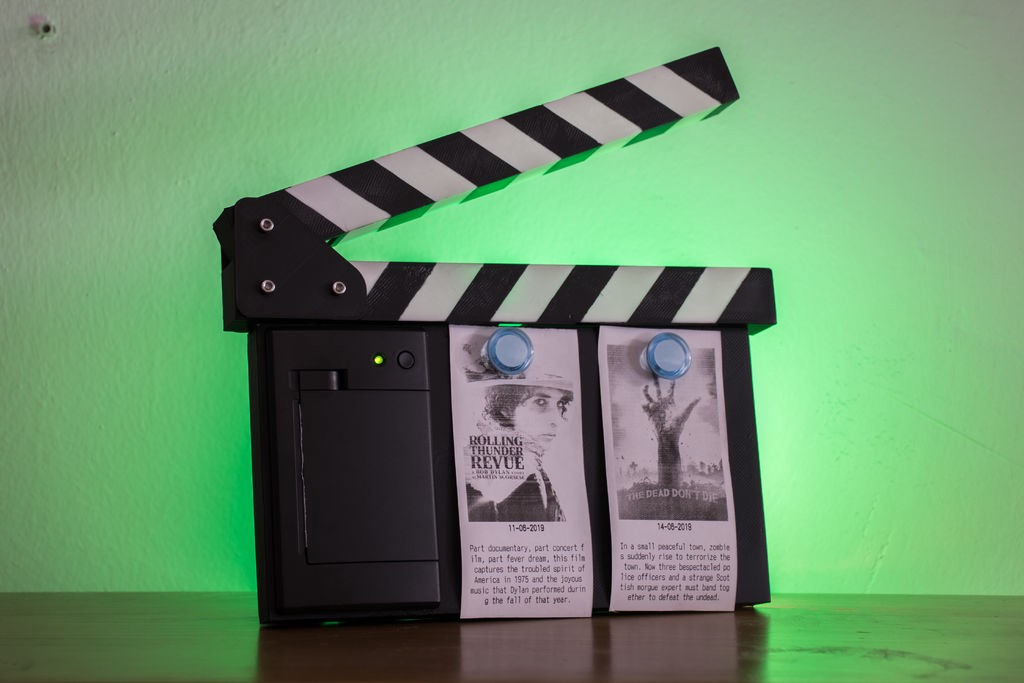 Raspberry Pi-Powered Movie Clapperboard Prints Mini Posters