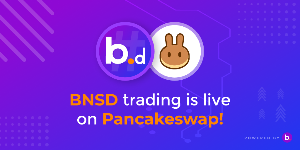 BNSD trading has started now on PancakeSwap