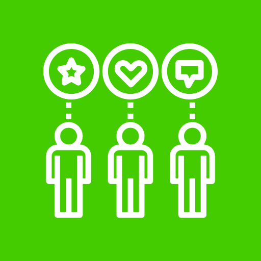 Graphic image showing 3 people with different icons