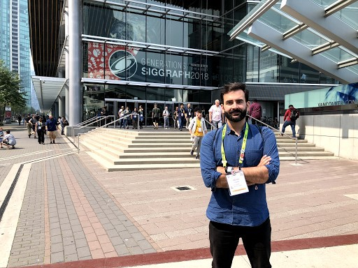 Rafa standing in front of the entrance to SIGGRAPH 2018