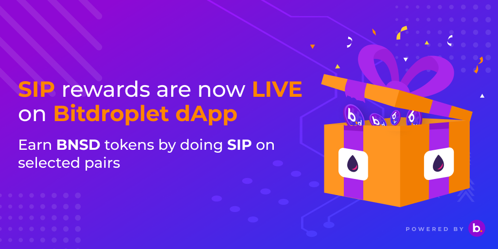 Get paid for doing a DCA/SIP —Bitdroplet dApp