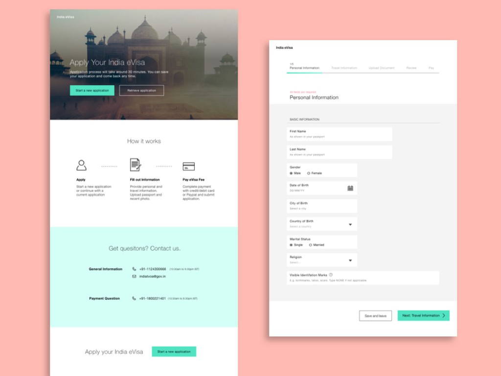 Ux Case Study Redesign India Visa Application Website By Ellie Chen Medium