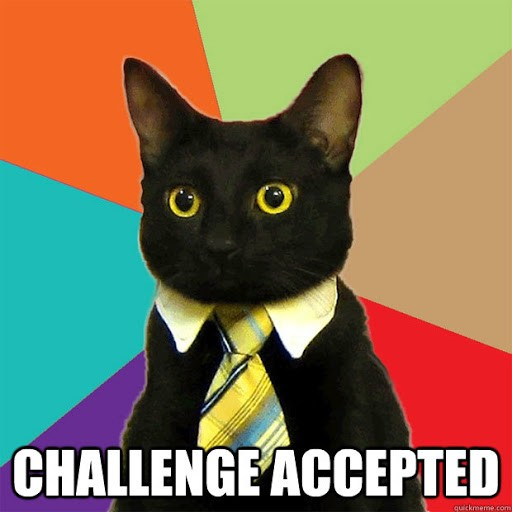 business cat meme of a black cat wearing a tie and collar, with a colourful background and the words 'CHALLENGE ACCEPTED' at the bottom of the image