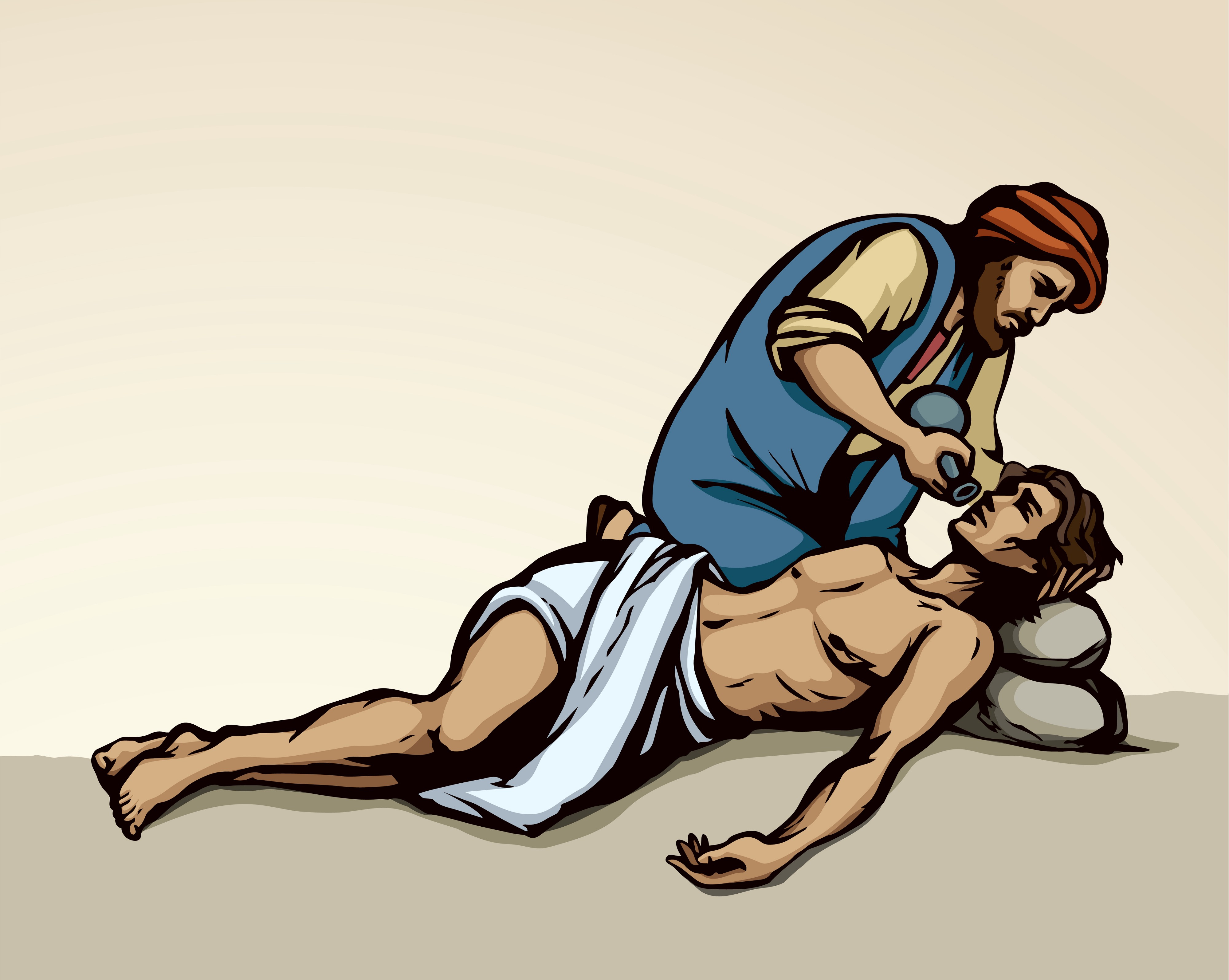 Drawing of the Good Samaritan offering drink to the man fallen at the hand of thieves. The bodies are draw with thick black lines. The man on the ground has a white cloth wrapped around his pelvic area, otherwise he is unclothed. His head is resting on two stacked rocks. The Samaritan, kneeling, is wearing a long blue vest-like garment over a flaxen-colored shirt. He has a russet beard and dull-red turban-like head gear. The background is plain with no detail, making the figures more striking.