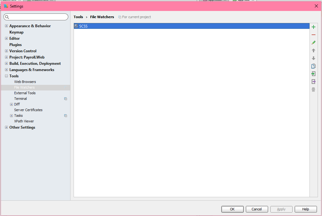 Transpiling  SCSS/ SASS files to  CSS files in Webstorm