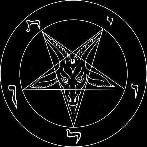 "White pentagram with a goat inside in a ring on a black background. Also called ""baphomet"" or a symbol of Satanism"