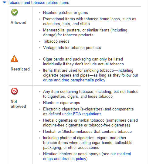 Why eBay is allowing E-Cigarette and Tobacco Products to be