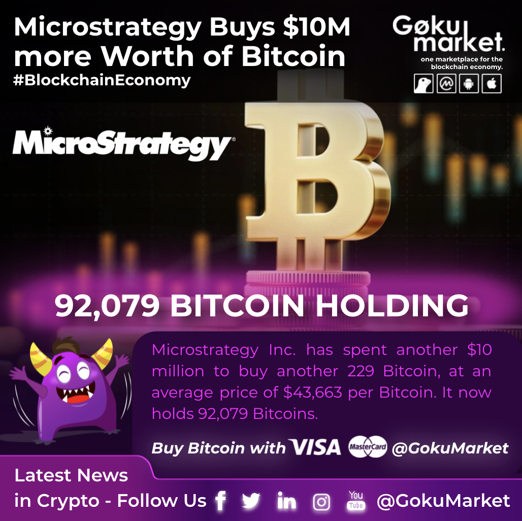 MicroStrategy Buys $10M More Worth of Bitcoin