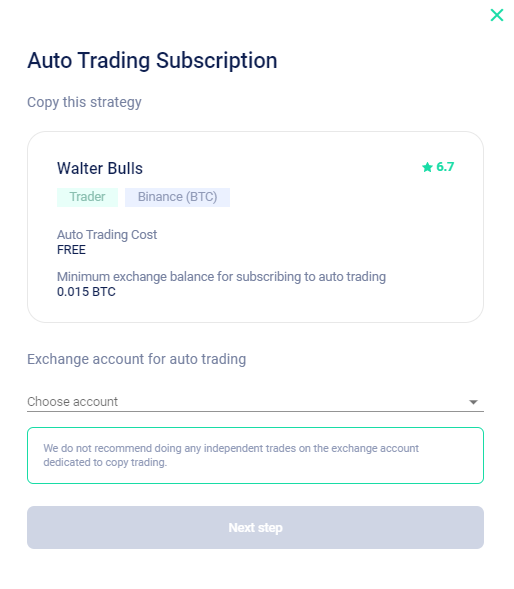 Select your exchange account from the dropdown.