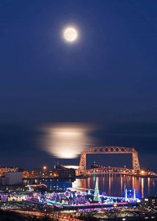 Image of a full moon of the bridge and bay at Duluth MN Image by Duke Skorich
