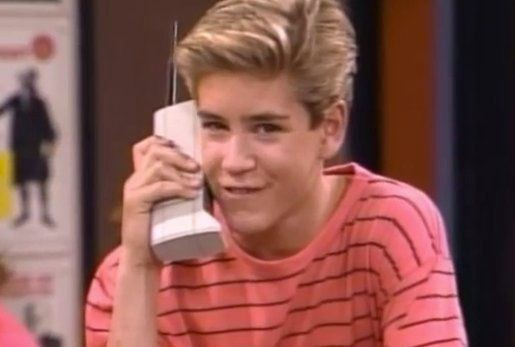 Zack Morris and brick cell phone from Saved by the Bell