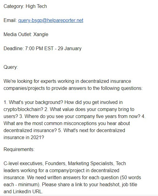 Specific inquiry from HARO High Tech Category: topic—decentralized insurance companies looking for 5 year future outlook