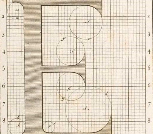 Large classic hand drawn E on graph paper