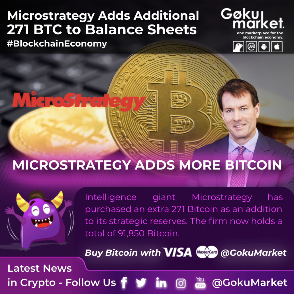 MicroStrategy Adds Additional 271 BTC to Balance Sheets