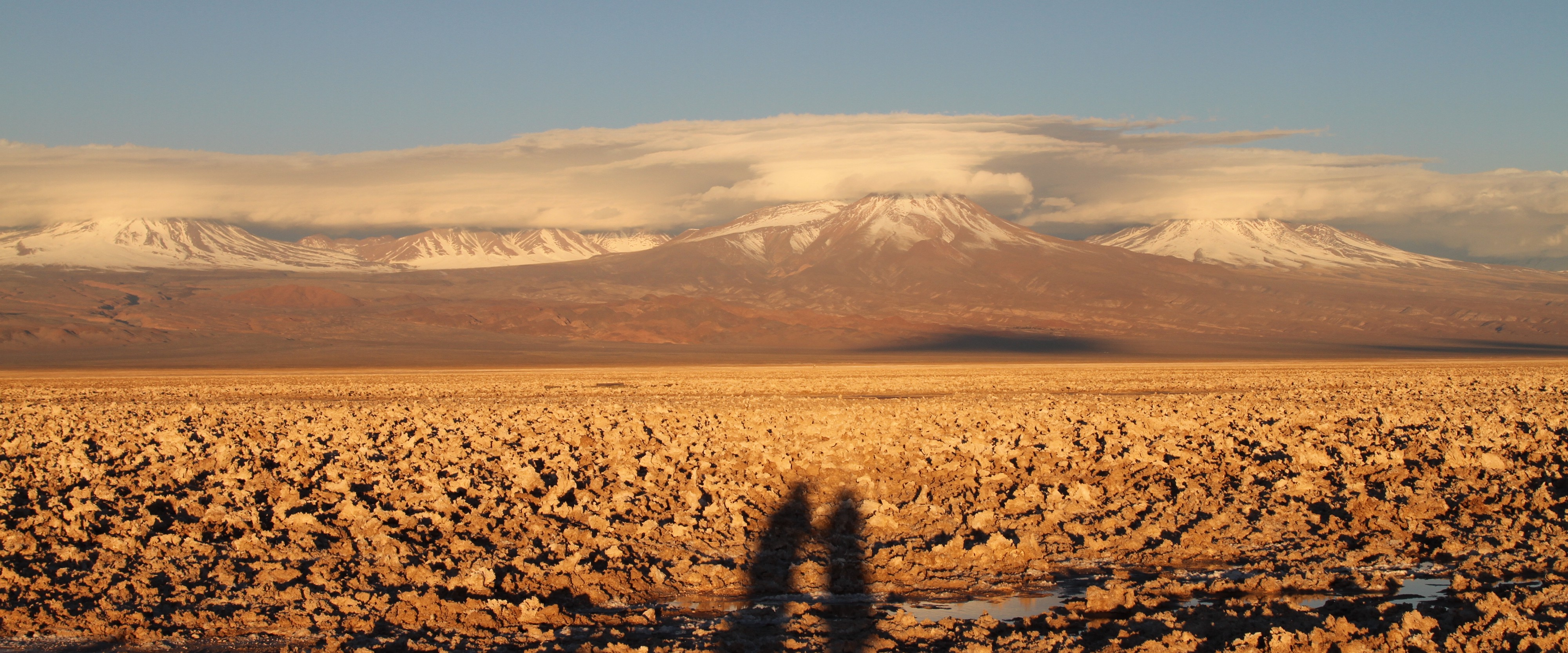 Silhouette of a couple in front of a landscape of desert and snow-capped mountain peaks