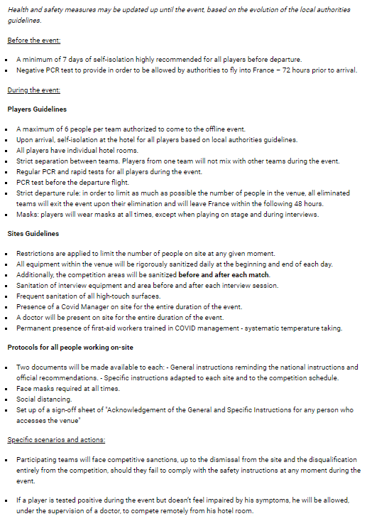 Six Invitational 2021 health and safety guidelines.