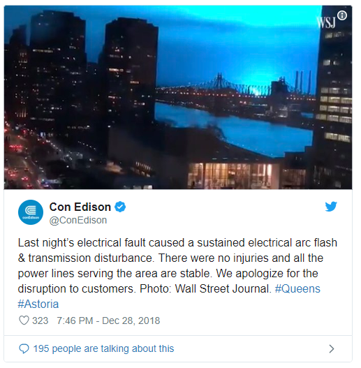 electric arc turns night sky blue in NYC