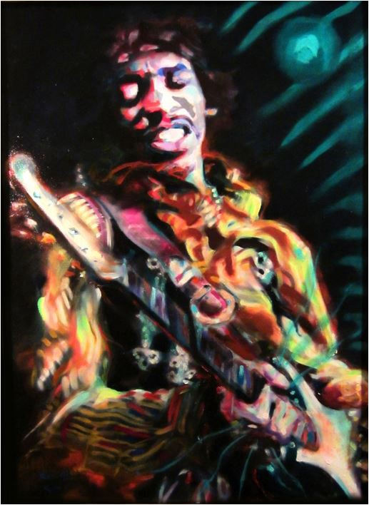 Artist's rendition of Jimi Hendrix playing guitar