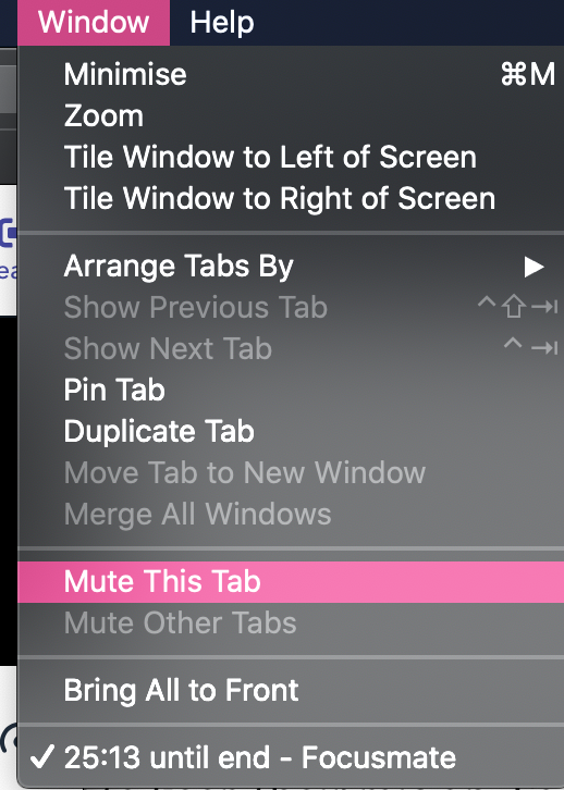How to mute a tab on Safari. Click Window > Mute this tab. Don't forget to unmute it towards the end of the session.