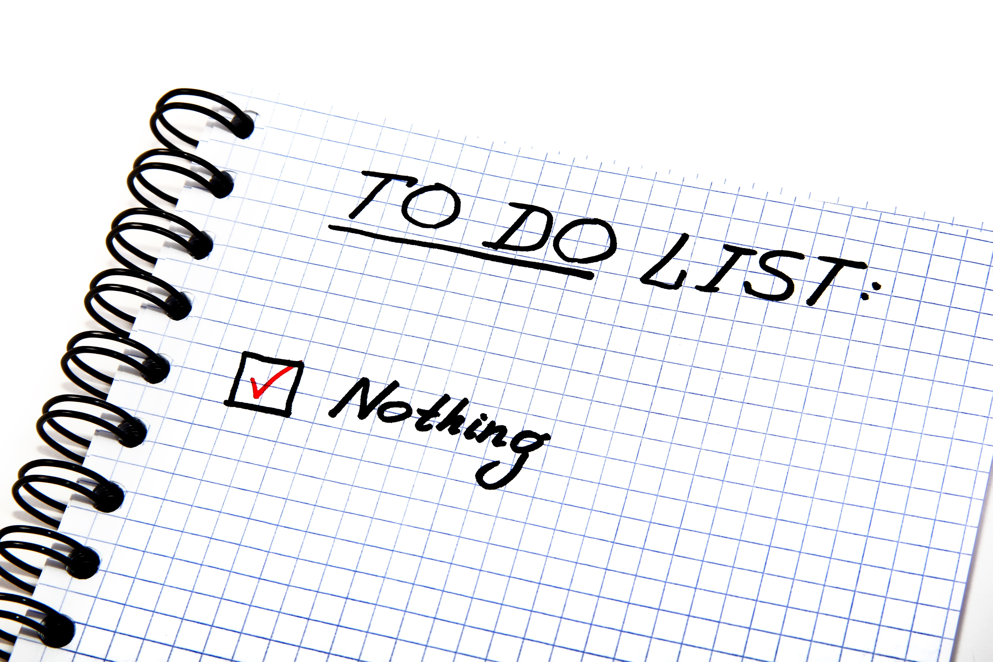 Notepad with a To Do List that says do nothing helps to reduce stress