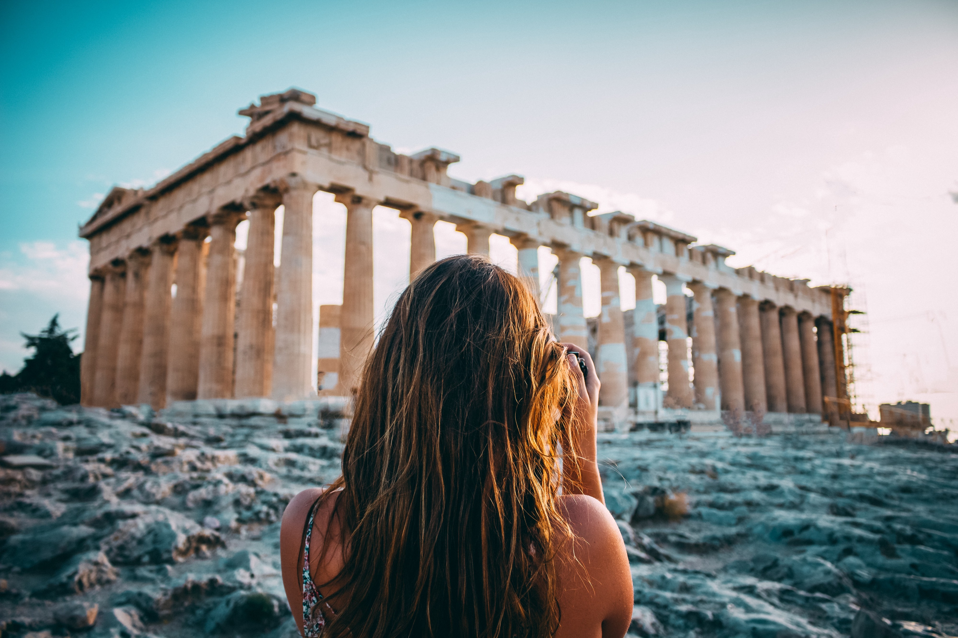 Woman at The Parthenon in Athens, Greece