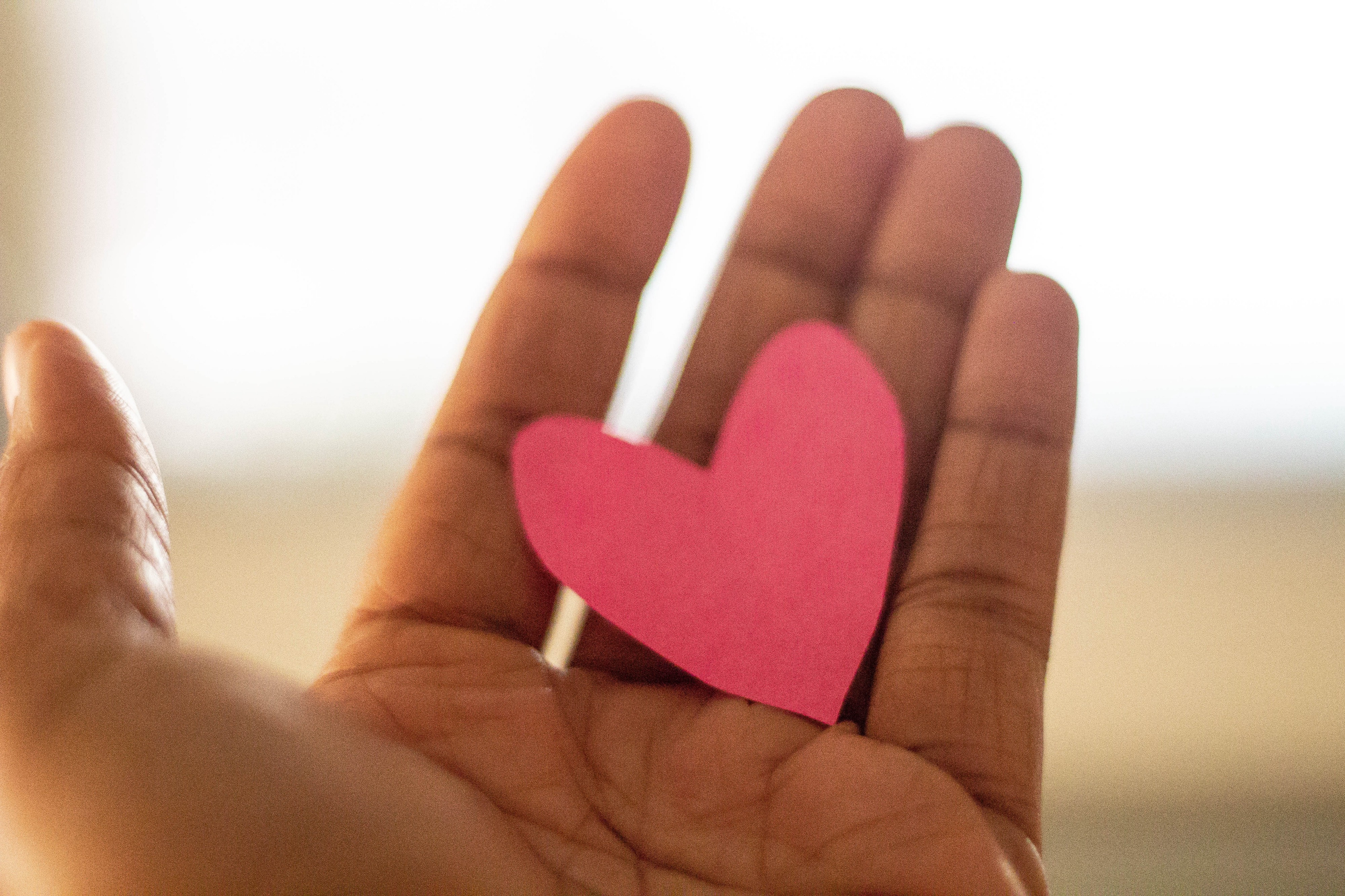 A hand outstretched with red paper cut in the shape of a cartoon heart