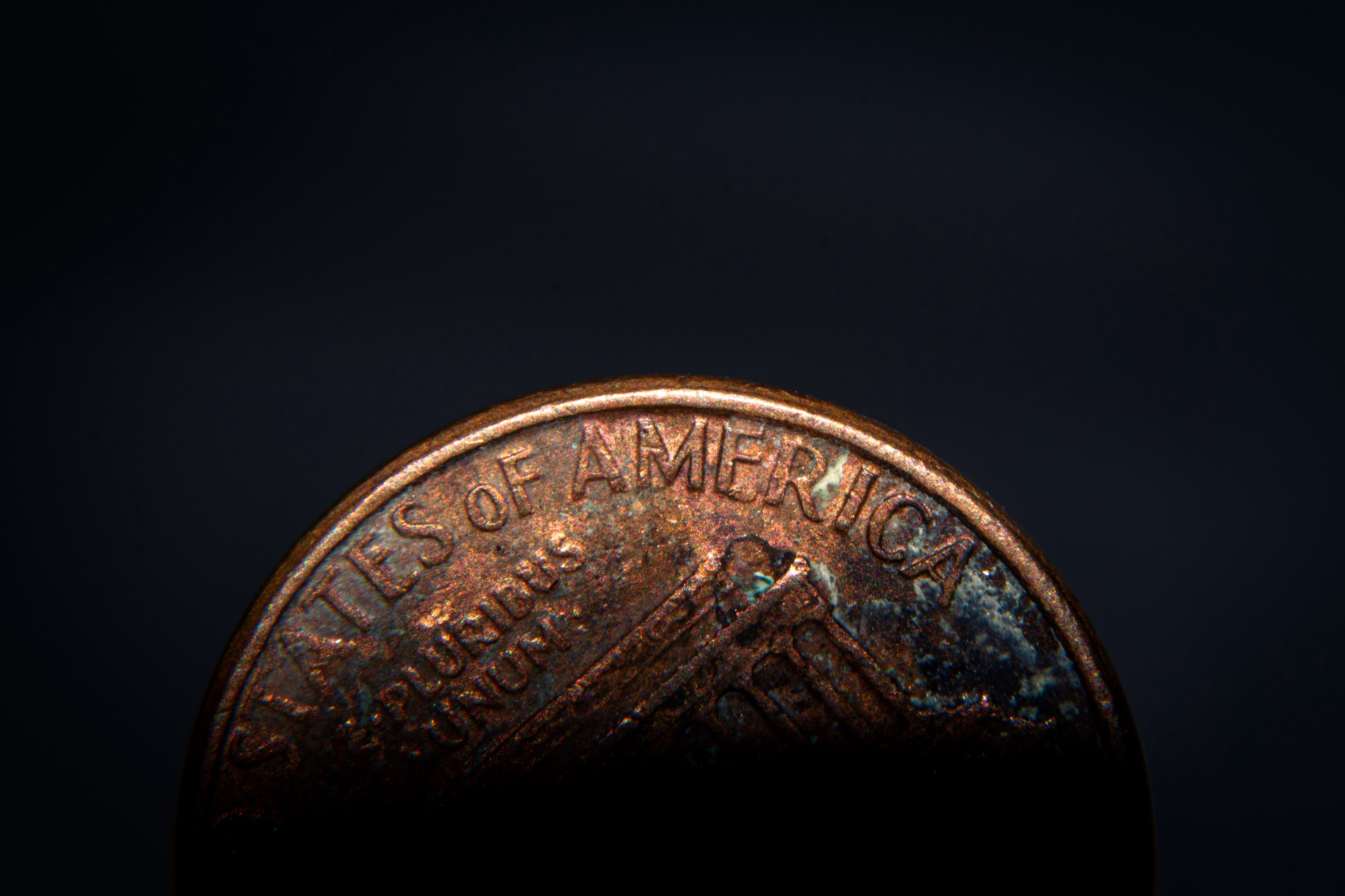 A close-up of a US penny