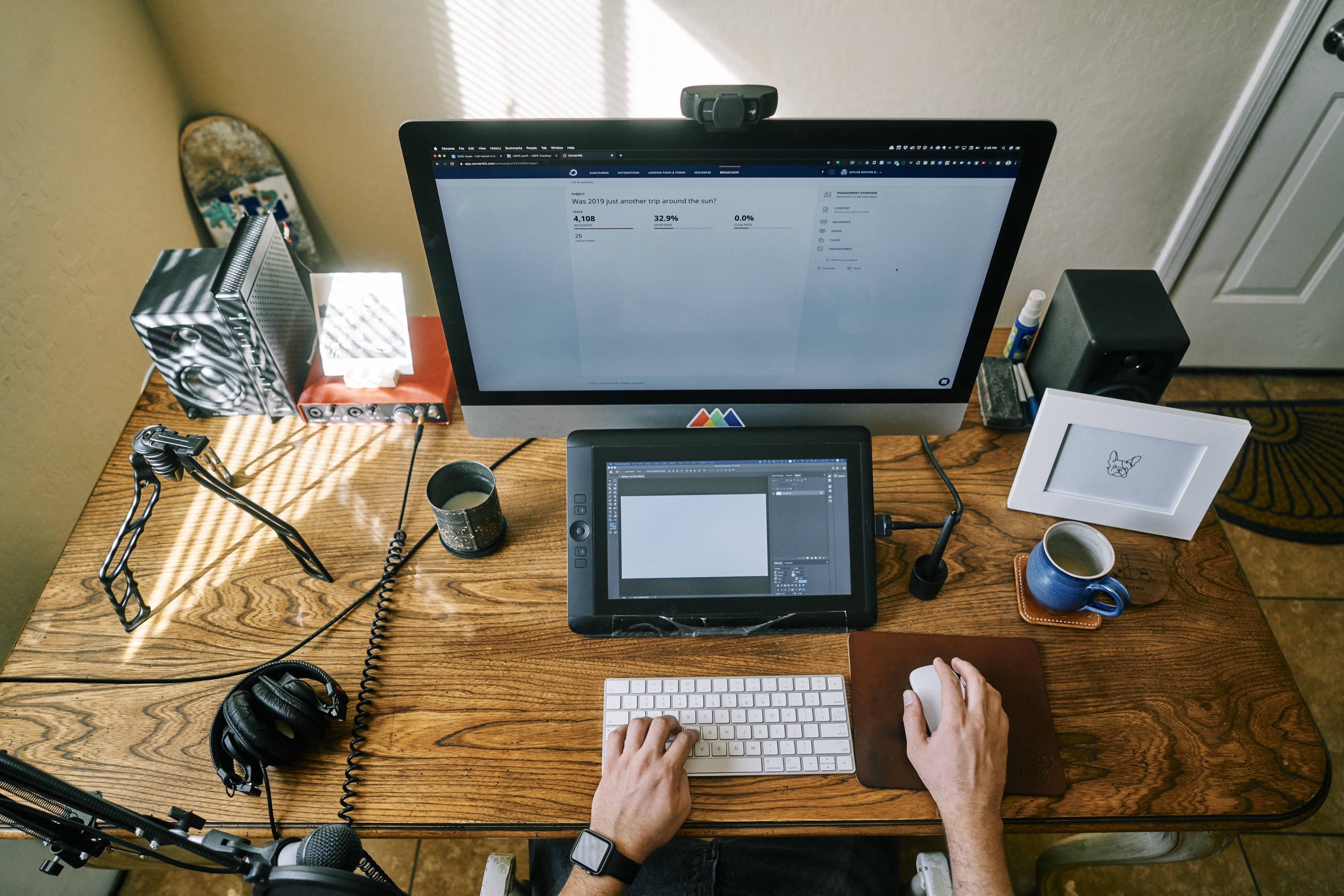 Homeoffice space with laptop and accessories