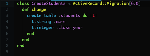Code in Migration File to Create Students Database Table