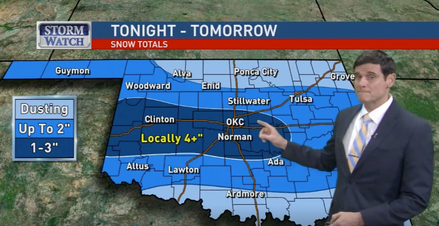 Snow totals from each of the OKC news stations - Steve Miller - Medium