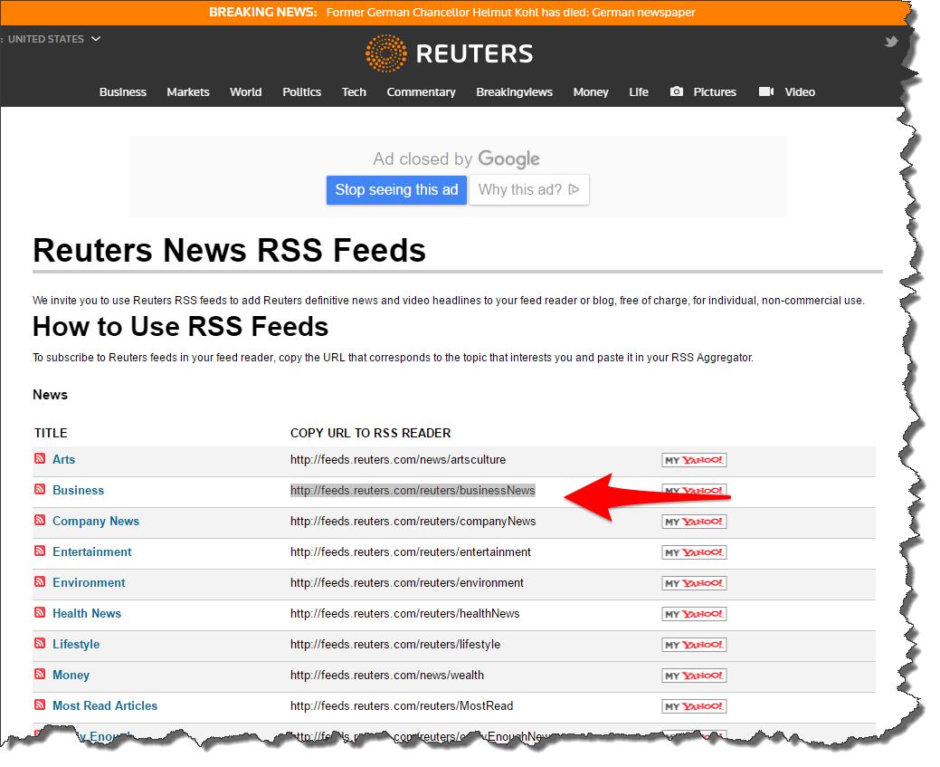Microsoft Excel — RSS News Feed Into Excel Using ...