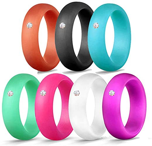 Silicone Wedding Ring for Women Rhinestone Silicone Rings Rubber Bands Hypoallergenic Crossfit Flexible Silicone Finger Ring