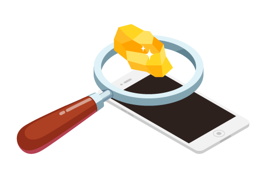 Magnifying glass looks at cell phone and finds gold ore