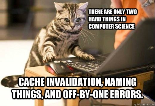 There are only 2 hard things in CS: cache invalidation, naming things, and off-by-1 errors. #meme