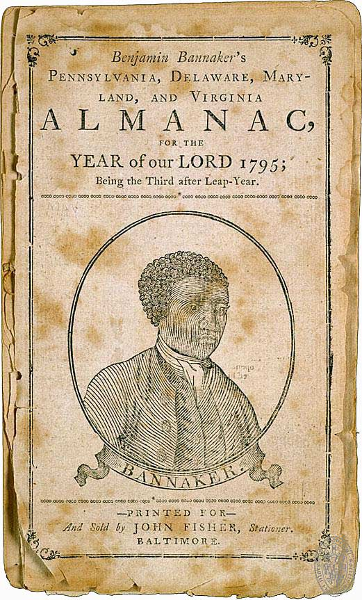 Woodcut portrait of Banneker from the cover of his 1795 Almanac.