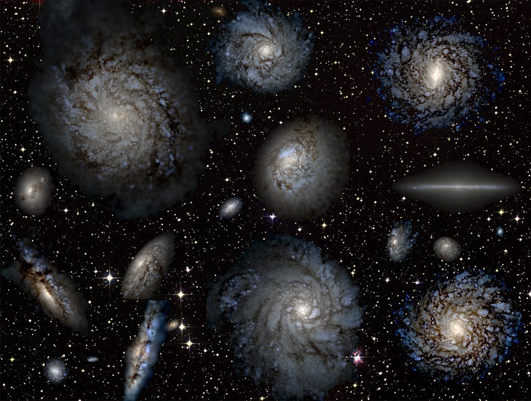 Several virtual galaxies against a starry background.