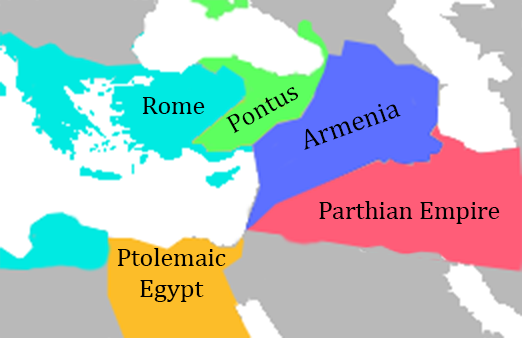 A map of ancient Armenia's borders compared to its neighbors