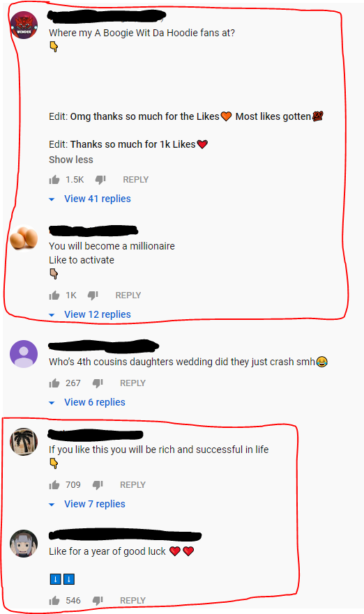 Comment thread of people thanking others for liking their comments, telling people they will become millionaires if they like their comments, etc