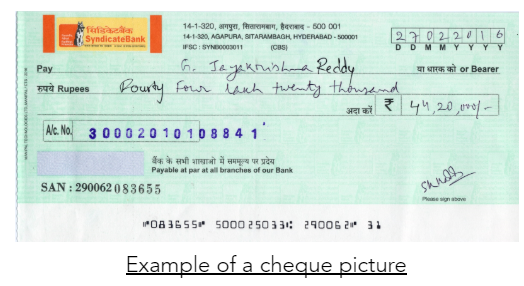 AI-Compare & Optical Character Recognition (OCR): Bank check