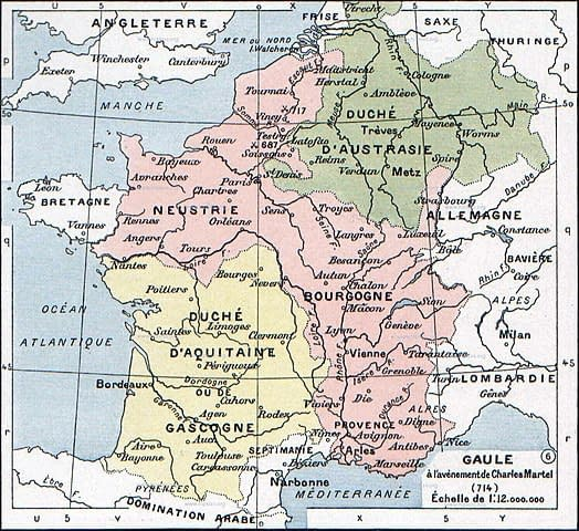 Francia in 714 CE, roughly around the time Charles became majordomo and prince.