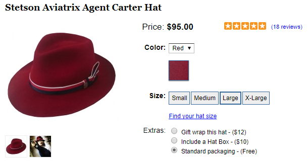 """22a8d2bf Stetson Aviatrix hat ($95) from Agent Carter season 1, and Old Focals """"AC  Reds"""" ($199) developed specifically for the Agent Carter Season 2"""