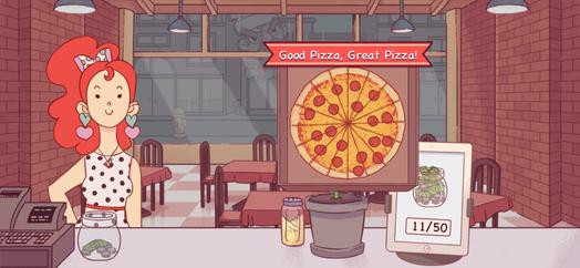 "Screenshot of a cartoon: A redhead woman is standing behind the counter of a pizza shop. A pepperoni pizza in a box hovers in the air with the label ""Good Pizza, Great Pizza!"" above the counter."